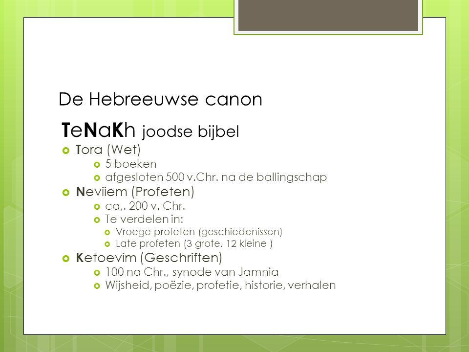 TeNaKh joodse bijbel De Hebreeuwse canon Tora (Wet) Neviiem (Profeten)