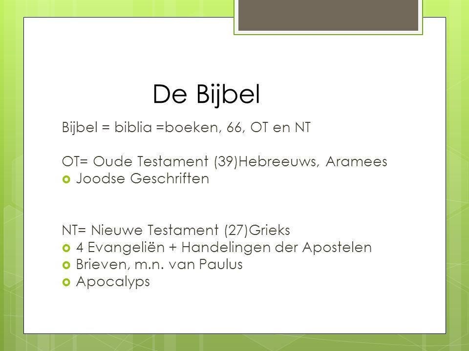 De Bijbel Bijbel = biblia =boeken, 66, OT en NT
