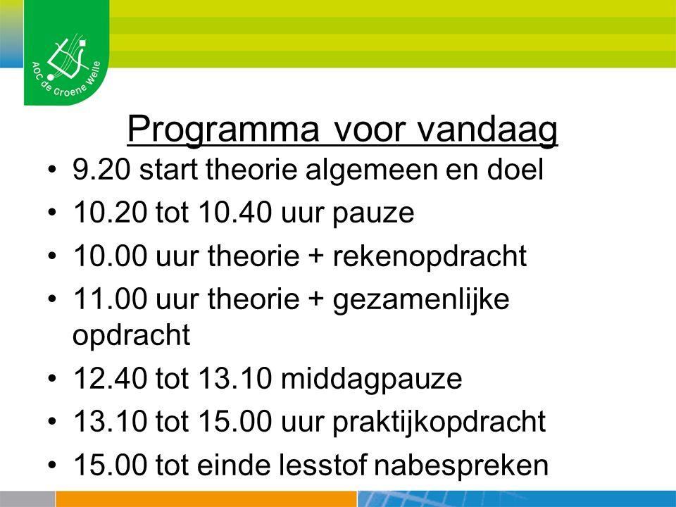 Programma voor vandaag