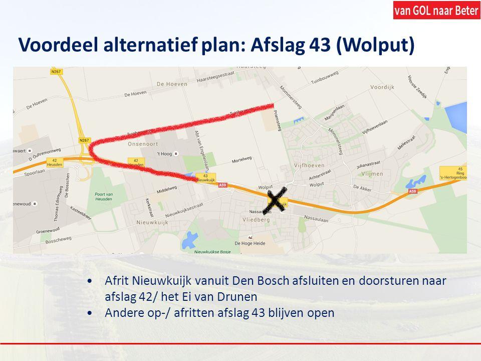 Voordeel alternatief plan: Afslag 43 (Wolput)