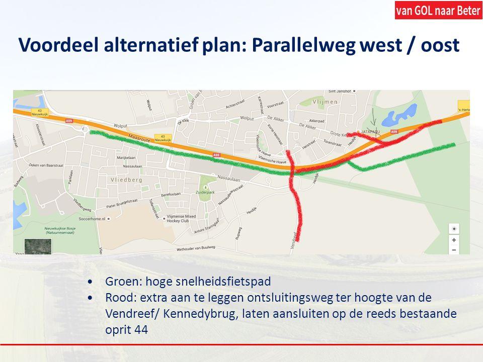 Voordeel alternatief plan: Parallelweg west / oost