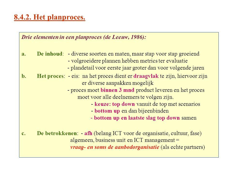 8.4.2. Het planproces. Drie elementen in een planproces (de Leeuw, 1986):