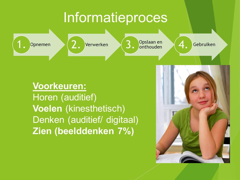 Informatieproces Voorkeuren: Horen (auditief) Voelen (kinesthetisch)