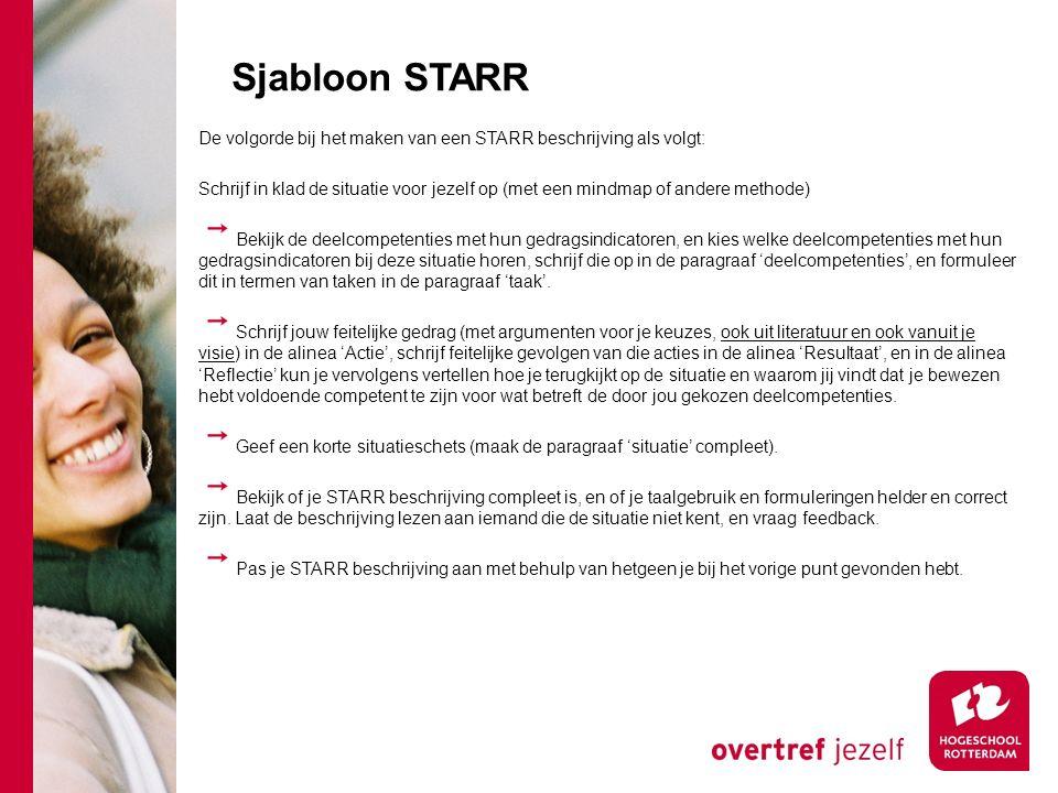 Sjabloon STARR De volgorde bij het maken van een STARR beschrijving als volgt:
