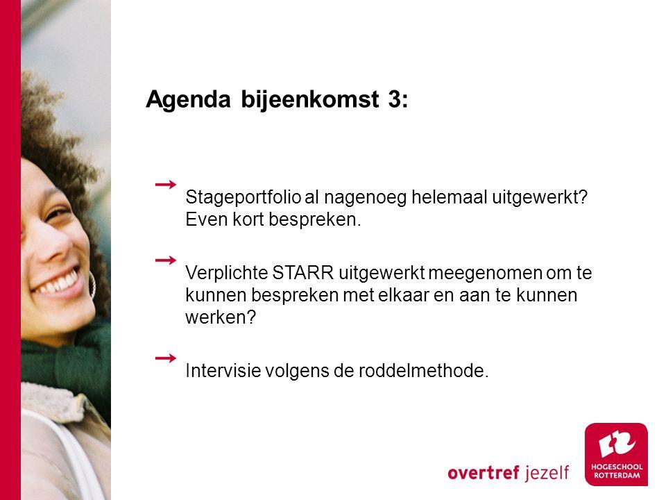 Agenda bijeenkomst 3: Stageportfolio al nagenoeg helemaal uitgewerkt Even kort bespreken.