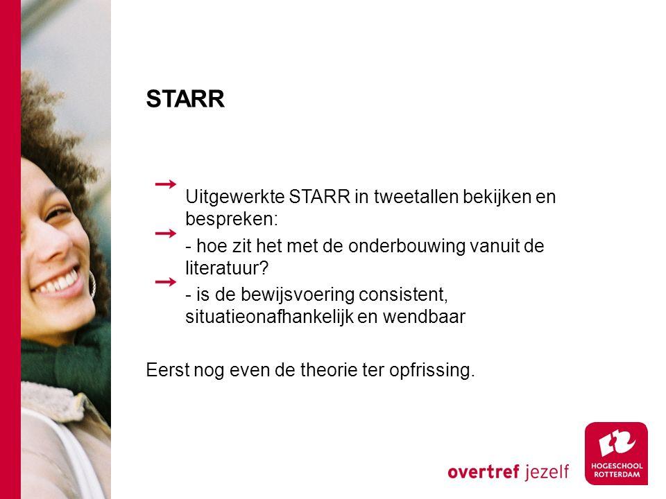 STARR Uitgewerkte STARR in tweetallen bekijken en bespreken: