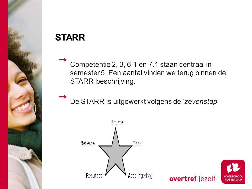 STARR Competentie 2, 3, 6.1 en 7.1 staan centraal in semester 5. Een aantal vinden we terug binnen de STARR-beschrijving.