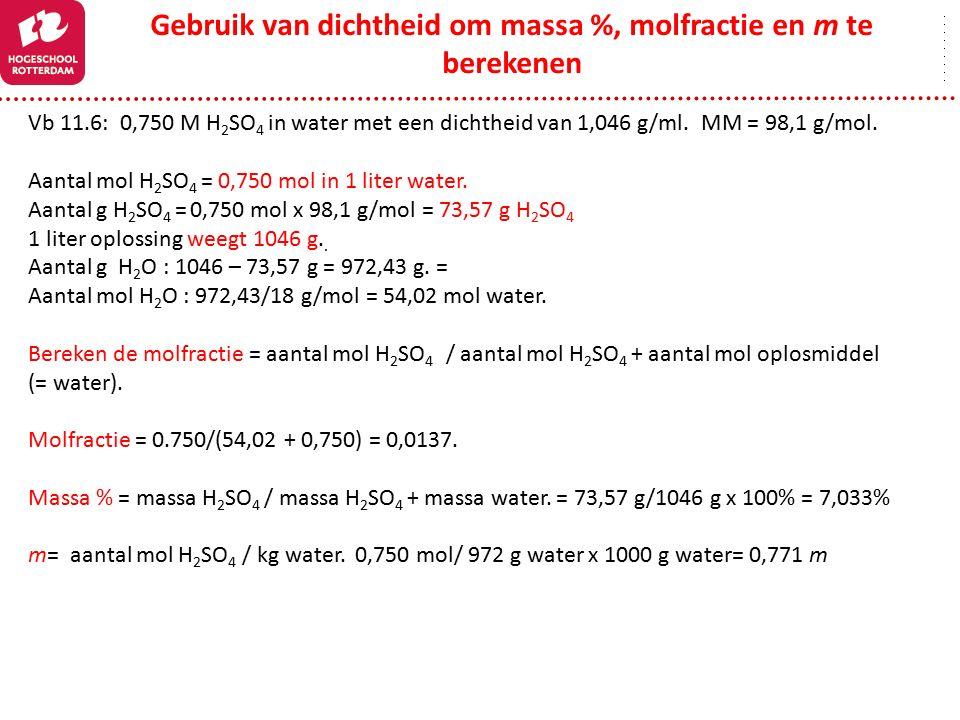 Gebruik van dichtheid om massa %, molfractie en m te berekenen