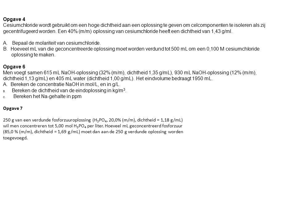 A. Bepaal de molariteit van cesiumchloride.