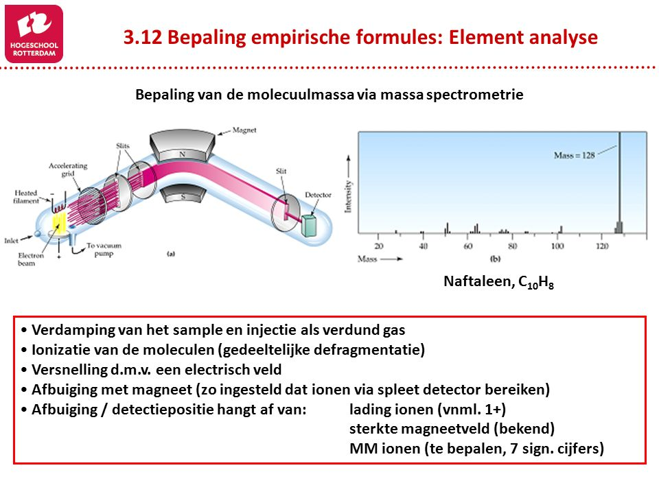 3.12 Bepaling empirische formules: Element analyse