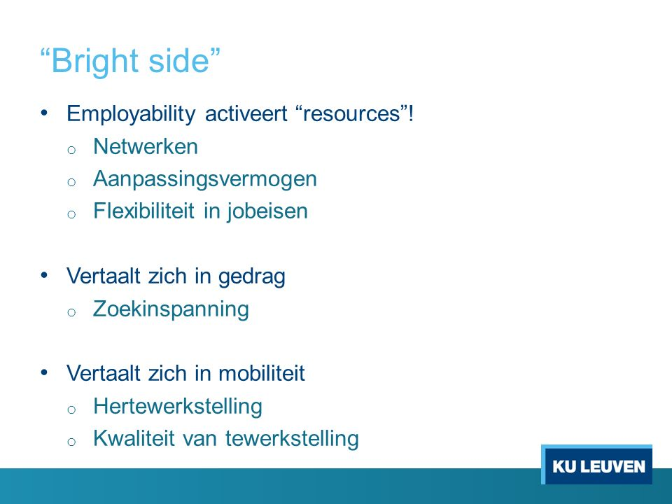 Bright side Employability activeert resources ! Netwerken