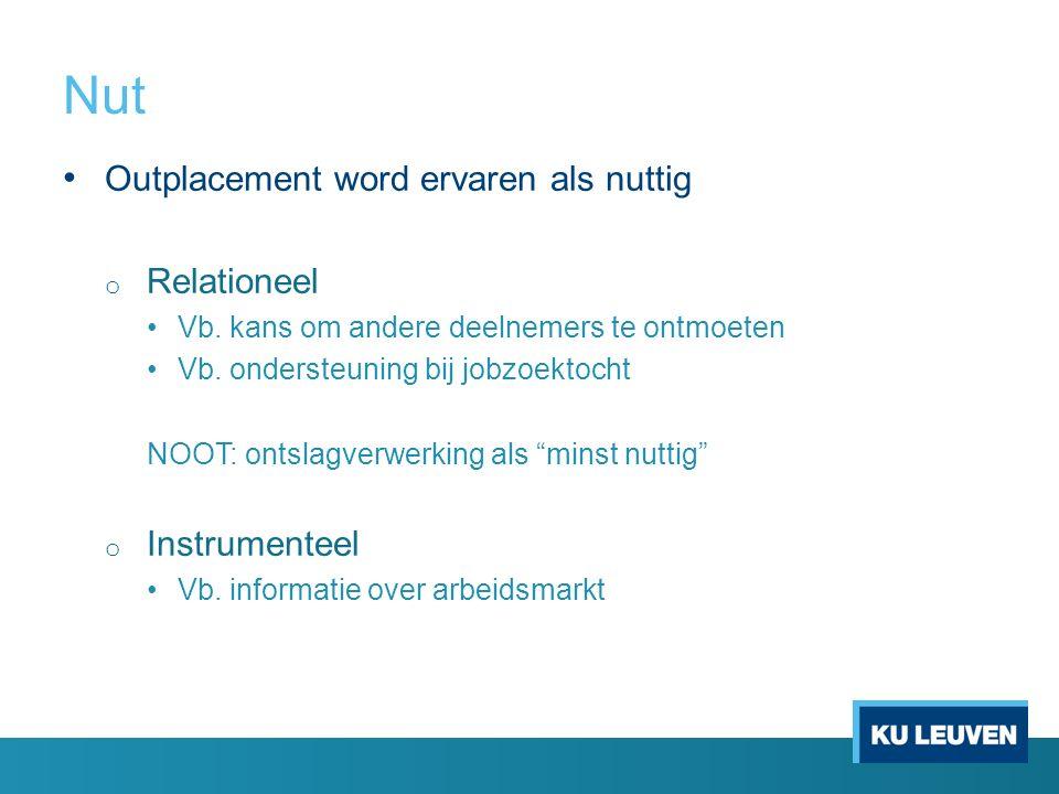 Nut Outplacement word ervaren als nuttig Relationeel Instrumenteel