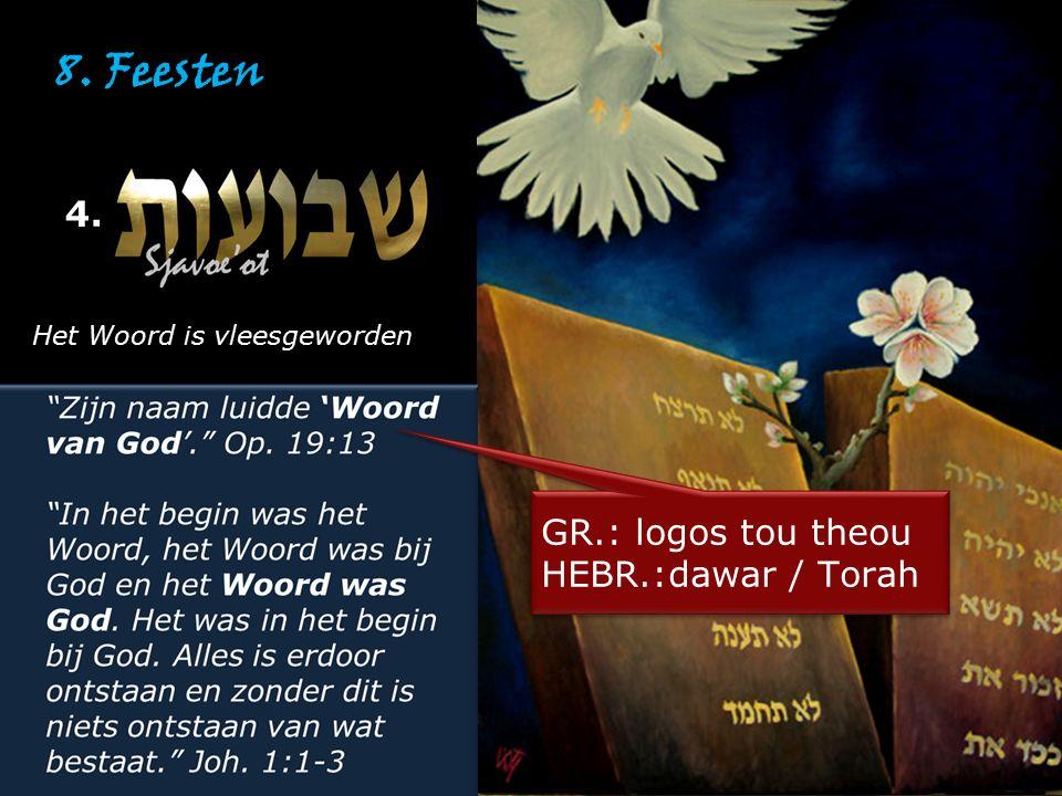 8. Feesten 4. GR.: logos tou theou HEBR.:dawar / Torah