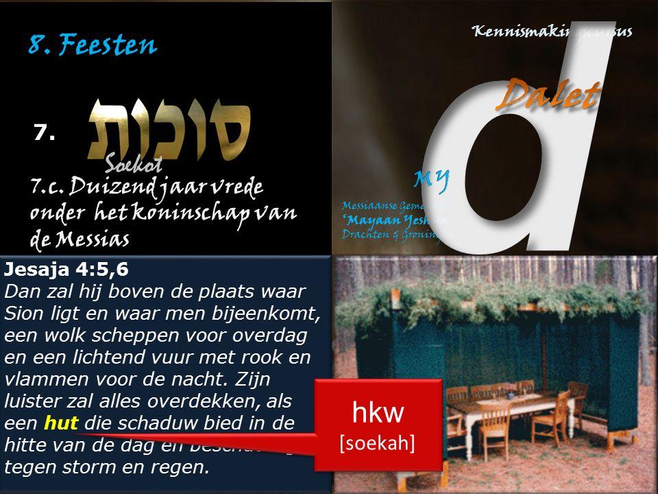 8. Feesten 7. 7.c. Duizend jaar vrede onder het koninschap van de Messias. Jesaja 4:5,6.