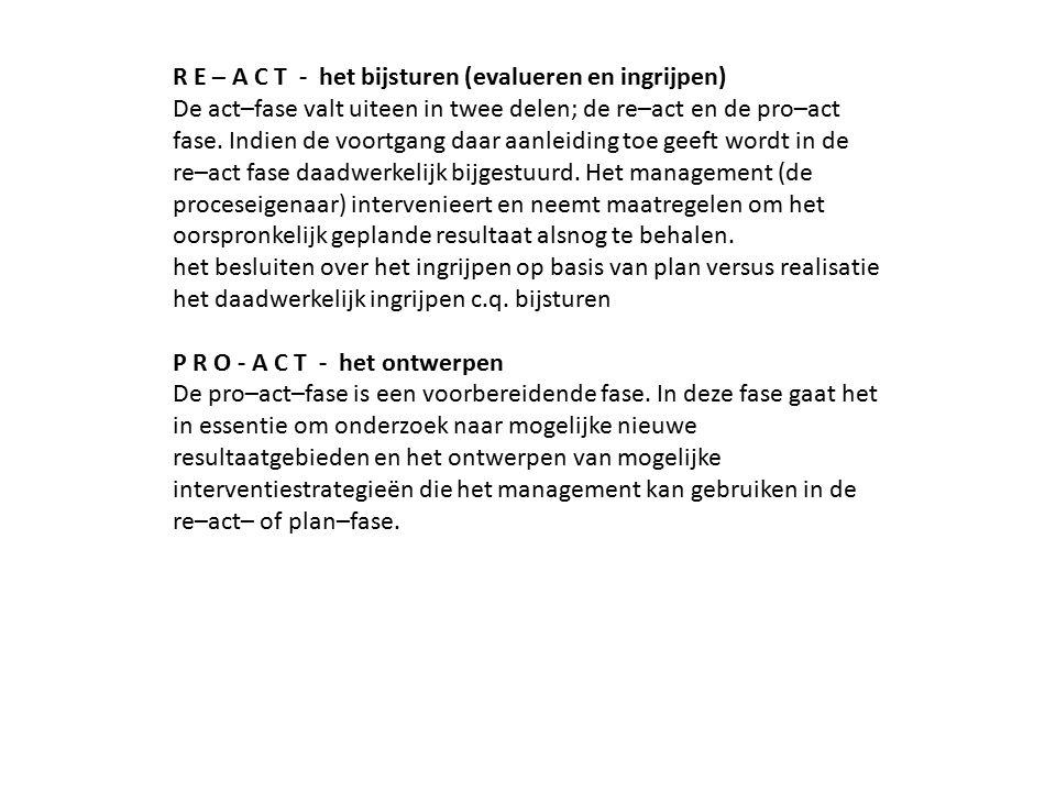 R E – A C T - het bijsturen (evalueren en ingrijpen) De act–fase valt uiteen in twee delen; de re–act en de pro–act fase. Indien de voortgang daar aanleiding toe geeft wordt in de re–act fase daadwerkelijk bijgestuurd. Het management (de proceseigenaar) intervenieert en neemt maatregelen om het oorspronkelijk geplande resultaat alsnog te behalen.