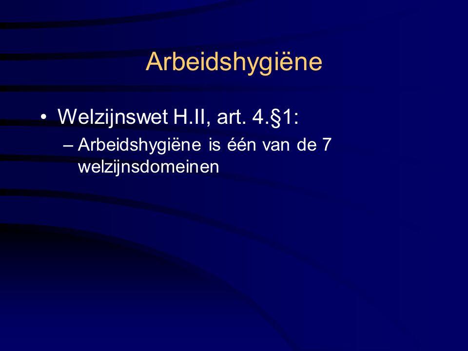 Arbeidshygiëne Welzijnswet H.II, art. 4.§1: