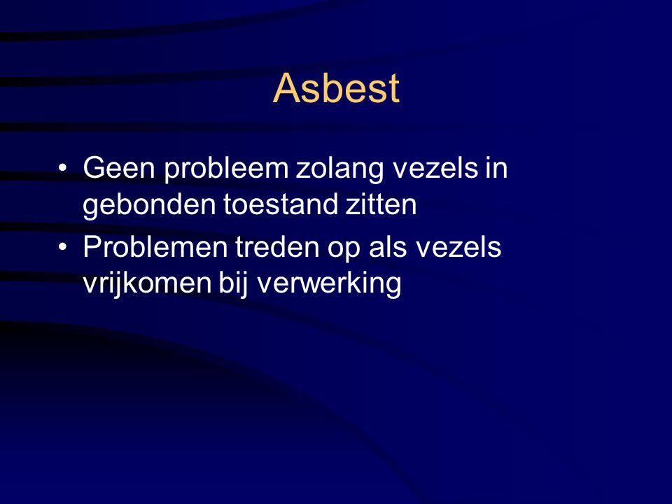 Asbest Geen probleem zolang vezels in gebonden toestand zitten