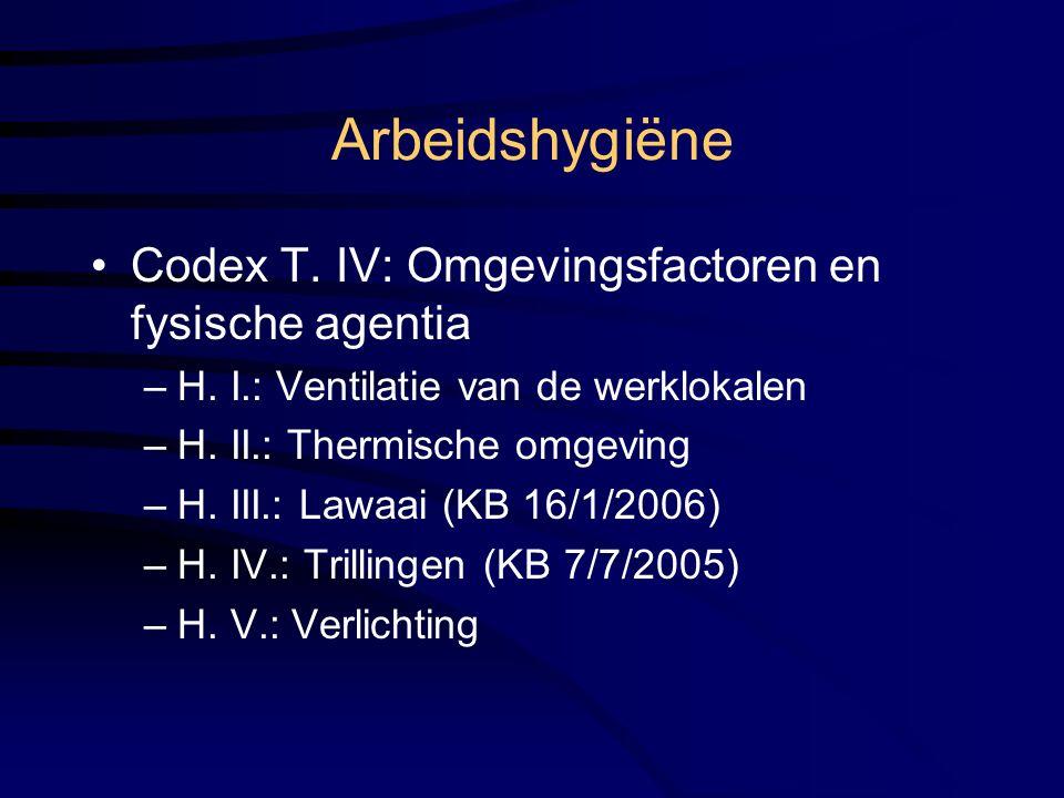 Arbeidshygiëne Codex T. IV: Omgevingsfactoren en fysische agentia