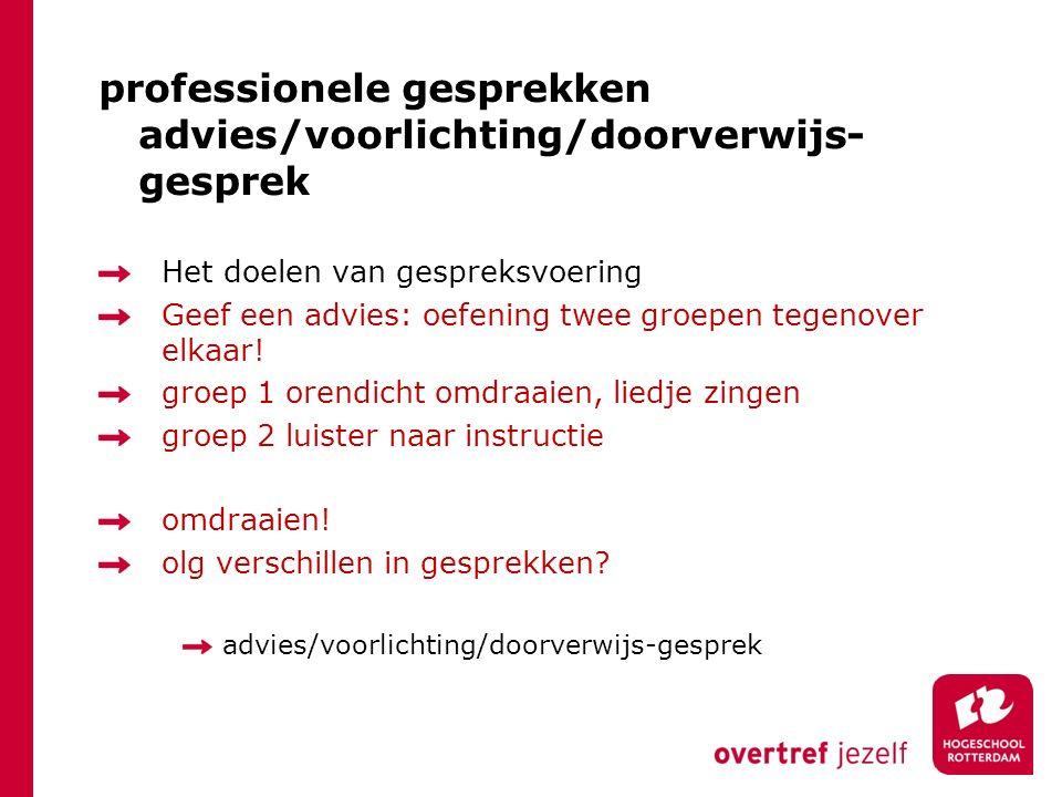 professionele gesprekken advies/voorlichting/doorverwijs-gesprek