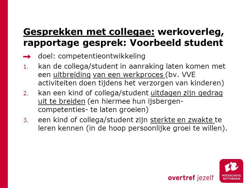 Gesprekken met collegae: werkoverleg, rapportage gesprek: Voorbeeld student