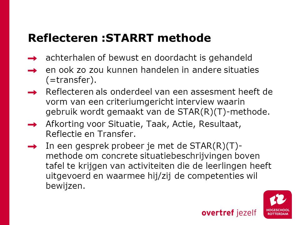 Reflecteren :STARRT methode