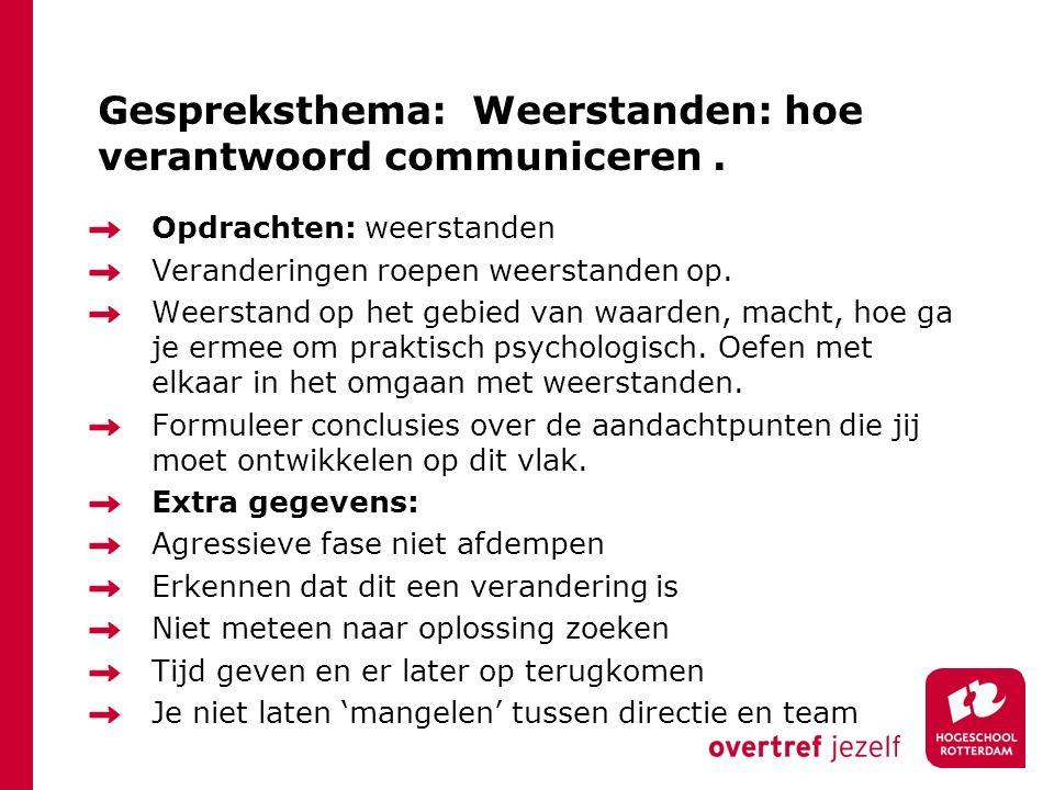 Gespreksthema: Weerstanden: hoe verantwoord communiceren .