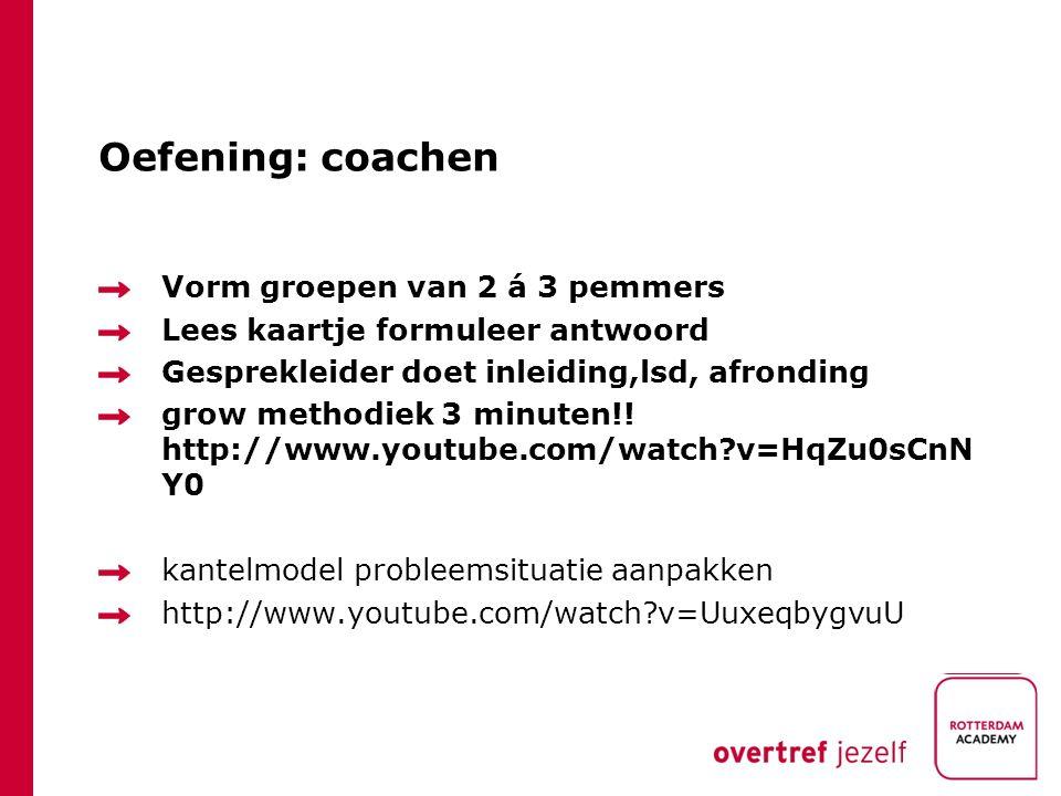 Oefening: coachen Vorm groepen van 2 á 3 pemmers