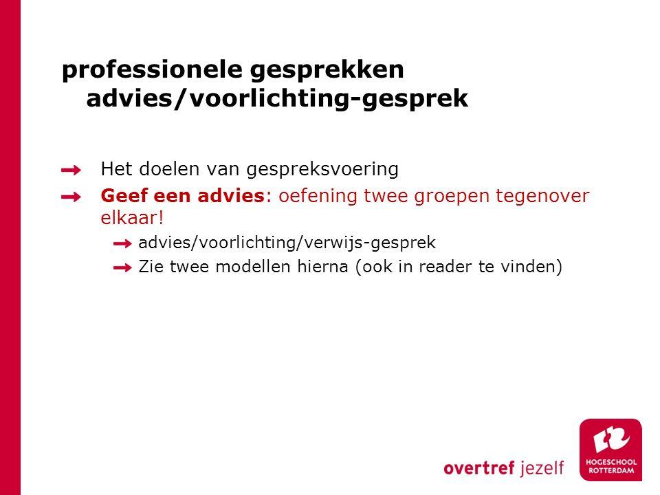 professionele gesprekken advies/voorlichting-gesprek