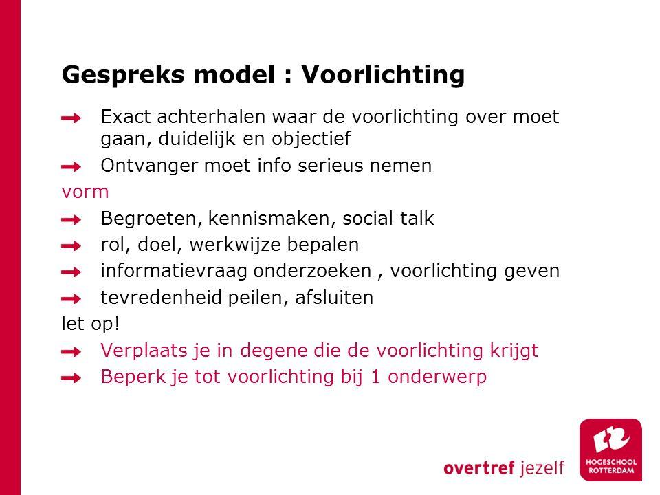 Gespreks model : Voorlichting
