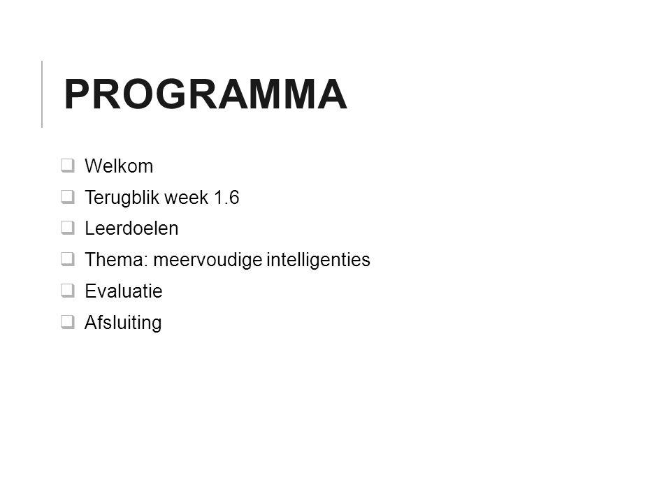 Programma Welkom Terugblik week 1.6 Leerdoelen