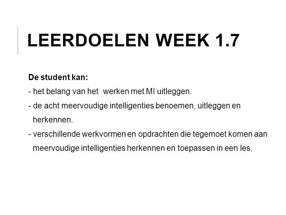 Leerdoelen week 1.7 De student kan: