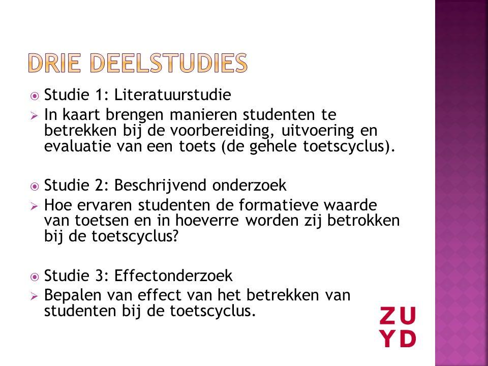 Drie deelstudies Studie 1: Literatuurstudie