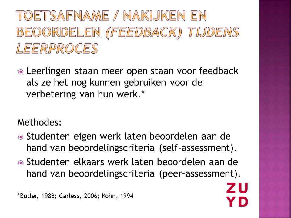 Toetsafname / nakijken en beoordelen (feedback) tijdens leerproces