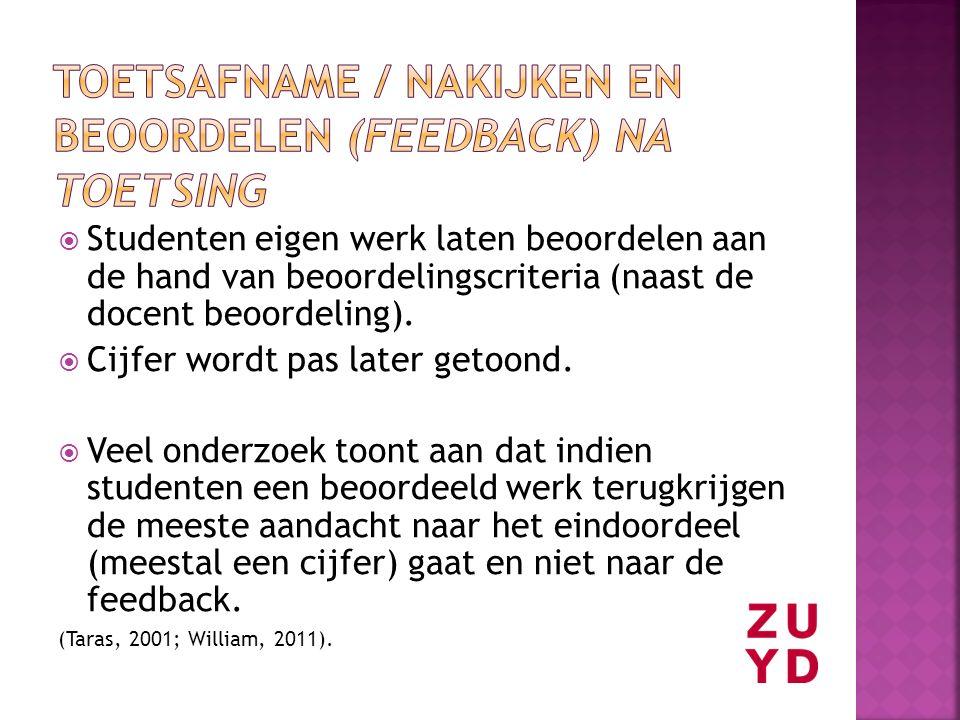 Toetsafname / nakijken en beoordelen (feedback) na toetsing