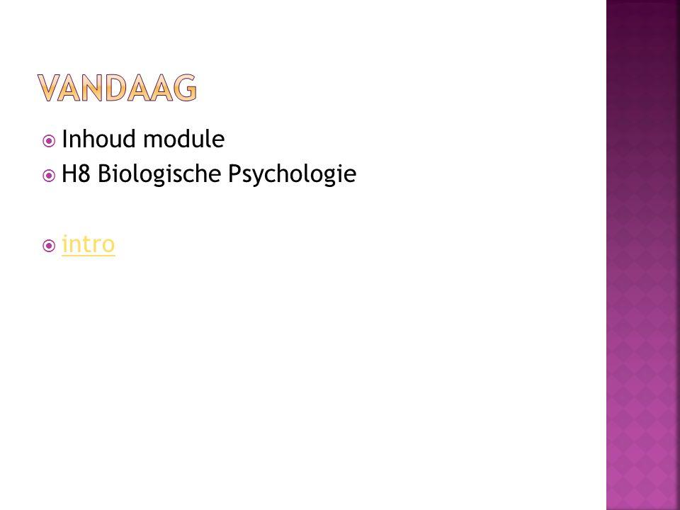 Vandaag Inhoud module H8 Biologische Psychologie intro