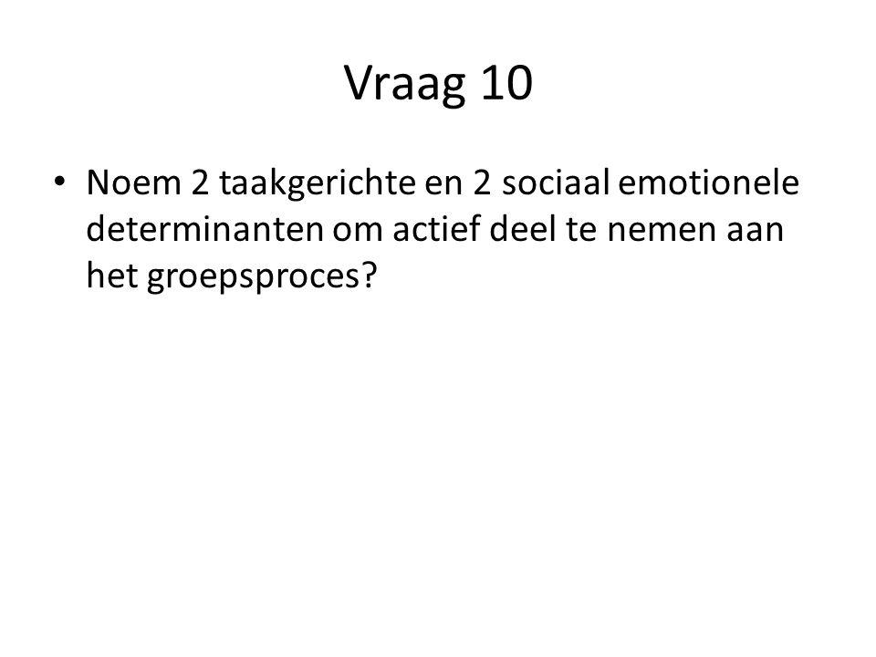 Vraag 10 Noem 2 taakgerichte en 2 sociaal emotionele determinanten om actief deel te nemen aan het groepsproces