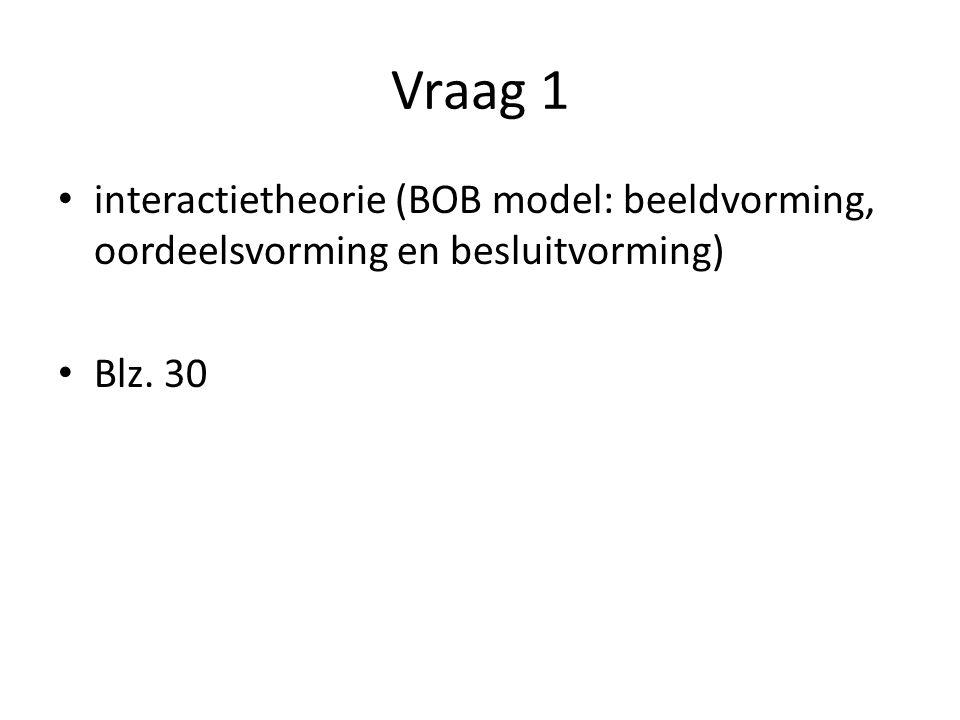 Vraag 1 interactietheorie (BOB model: beeldvorming, oordeelsvorming en besluitvorming) Blz. 30