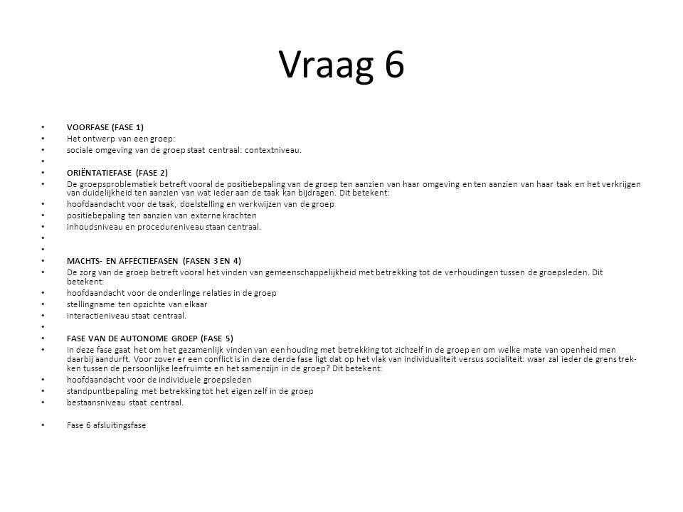 Vraag 6 VOORFASE (FASE 1) Het ontwerp van een groep: