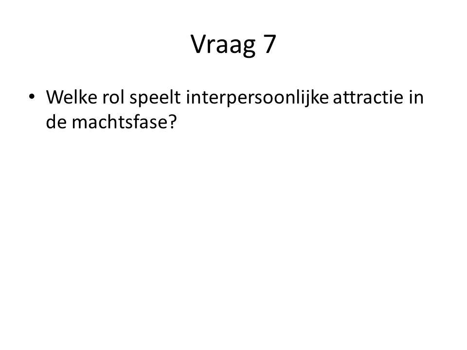 Vraag 7 Welke rol speelt interpersoonlijke attractie in de machtsfase