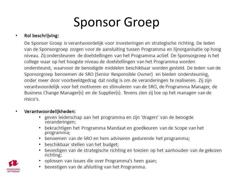 Sponsor Groep Rol beschrijving: