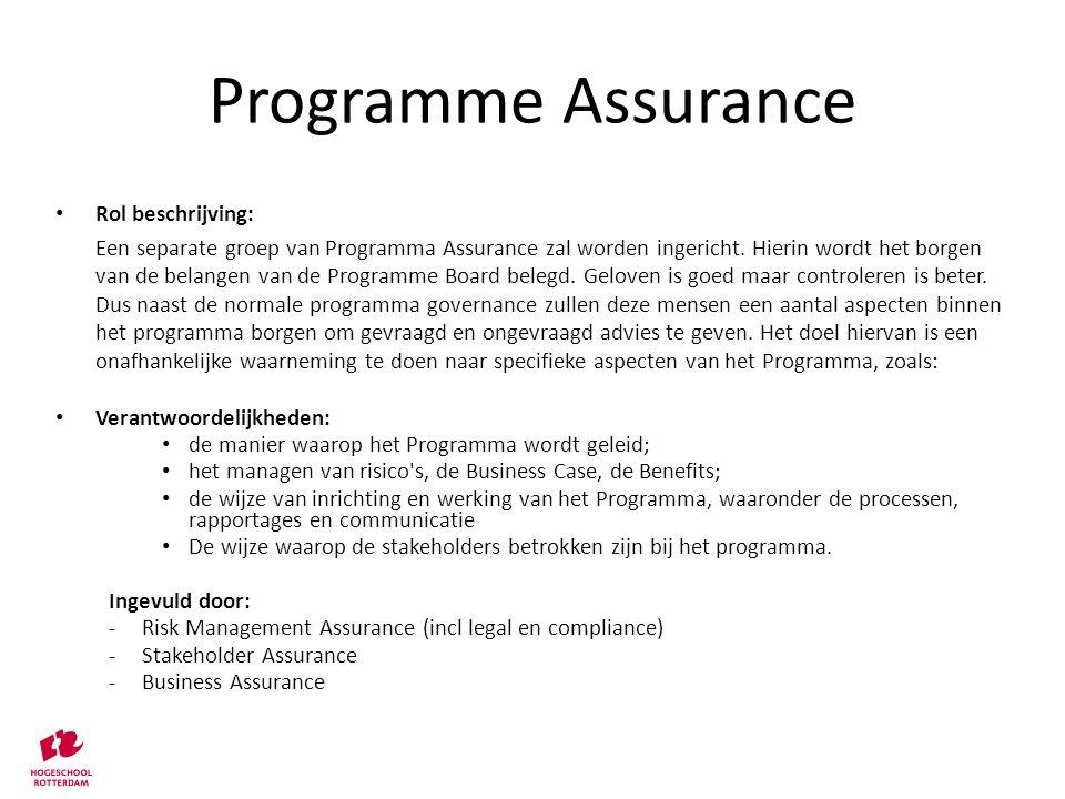 Programme Assurance Rol beschrijving: