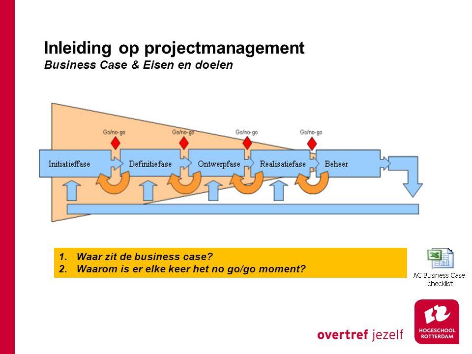 Inleiding op projectmanagement Business Case & Eisen en doelen
