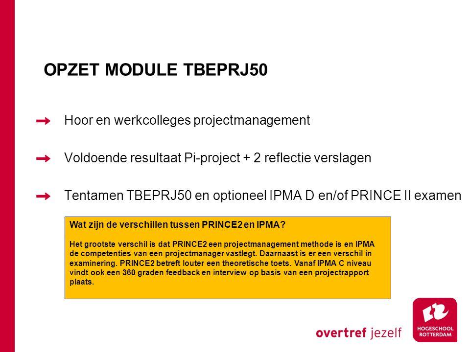 OPZET MODULE TBEPRJ50 Hoor en werkcolleges projectmanagement