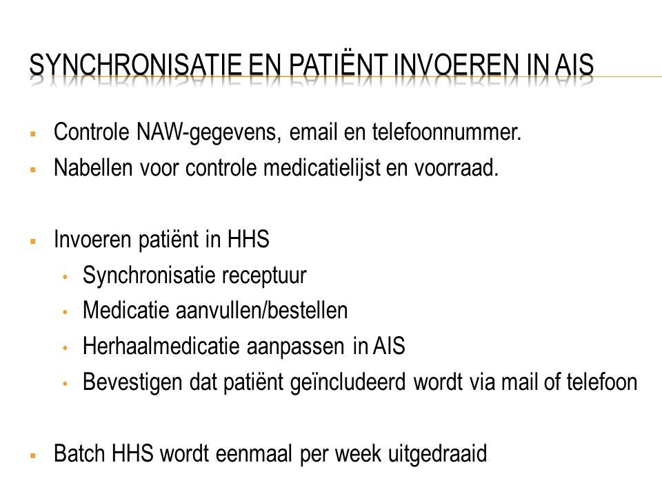 Synchronisatie en patiënt invoeren in AIS