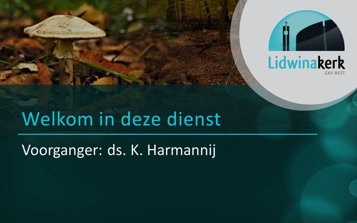 Welkom in deze dienst Voorganger: ds. K. Harmannij