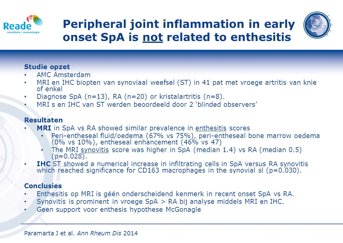 Peripheral joint inflammation in early onset SpA is not related to enthesitis
