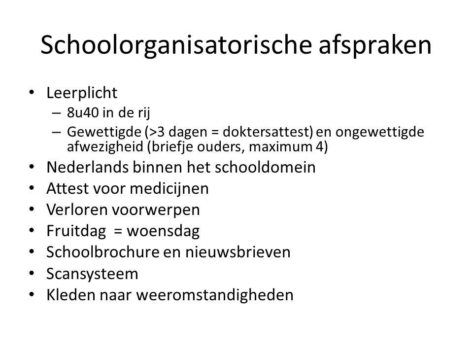 Schoolorganisatorische afspraken