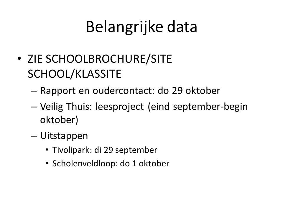 Belangrijke data ZIE SCHOOLBROCHURE/SITE SCHOOL/KLASSITE