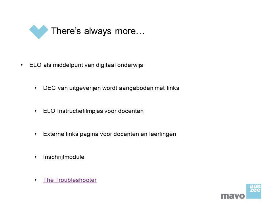 There's always more… ELO als middelpunt van digitaal onderwijs
