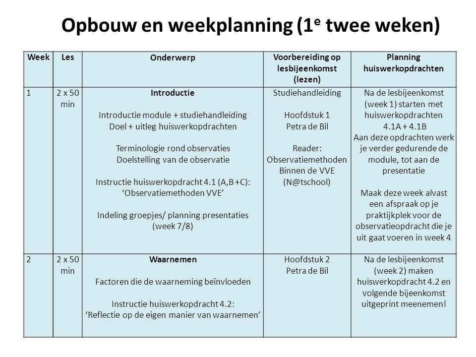 Opbouw en weekplanning (1e twee weken)